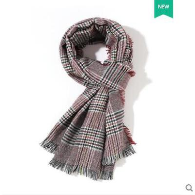 围巾韩版女百搭披肩女日系两用仿羊绒薄毛线格子围巾男厚