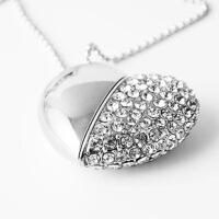 水晶珠宝心形U盘情人礼物项链U盘创意可爱礼品优盘定制刻字logo