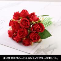 【新品特惠】小清新12头把束仿真玫瑰花假花绢花艺装饰餐桌婚庆新娘手捧花束