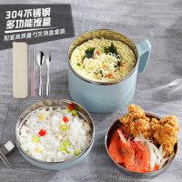 304不锈钢保温便当盒饭盒学生分格泡面碗快餐杯日式儿童双层隔热