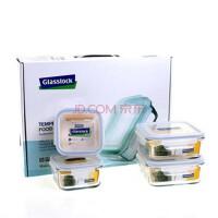 GLASS LOCK三光云彩保鲜盒微波炉饭盒 四件套装GL25-4AB-SG383-79便当盒