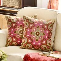 奇居良品 沙发床头方枕套抱枕套 珊蒂棉线绣花绿色系靠垫套