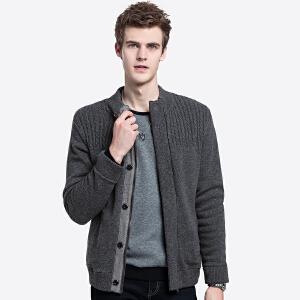 骆驼男装 2018秋冬新款纯色立领开衫针织外套青年休闲长袖毛衣男