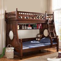 美式家具儿童床双层床全实木子母床上下铺胡桃木高低床
