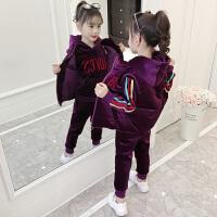 大儿童金丝绒加厚三件套时尚洋气潮时髦童装女童套装冬装