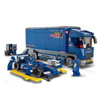 【当当自营】小鲁班F1方程式赛车系列儿童益智拼装积木玩具 F1蓝光赛车-运输车M38-B0357