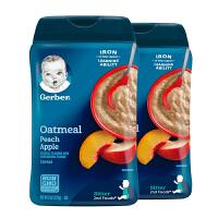 美国直邮/保税区发货 Gerber嘉宝 2段蜜桃苹果燕麦米粉 二段6个月以上 227g*2罐 海外购
