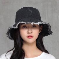 遮阳帽休闲帽子磨边盆帽可折叠水洗布帽毛边牛仔渔夫帽女
