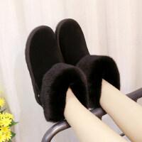 加绒加厚雪地靴女短筒短靴韩版百搭学生保暖棉鞋潮