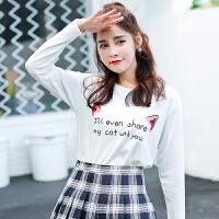 秋冬季新款女装秋装韩版宽松长袖T恤女百搭卡通印花外穿上衣打底