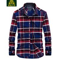 战地吉普AFS JEEP男士纯棉长袖衬衫 秋季新款都市休闲格子衬衣LZ798170