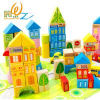 桶装城市交通场景大块积木木制益智玩具早教儿童玩具