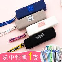 咔巴熊笔袋女韩版简约小清新帆布铅笔盒文具袋男初中学生个性可爱