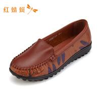 红蜻蜓女鞋秋季新款一脚蹬ins鞋子女韩版港风百搭小方头单鞋