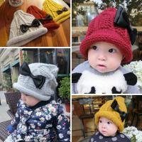 16年秋冬单层婴幼儿童女宝宝蝴蝶结针织帽子毛线帽子尖头帽