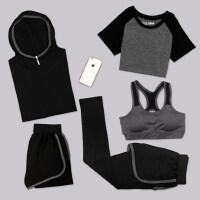 大码运动套装女装瑜伽服五件套胖mm200斤健身速干跑步服长裤外套