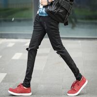新款潮款膝盖破洞牛仔裤男韩版潮修身个性裤子男装青年瘦腿长裤