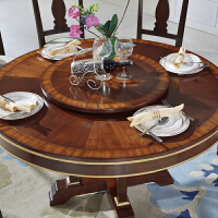 家具圆餐桌美式乡村实木吃饭桌子双层转盘餐厅圆桌
