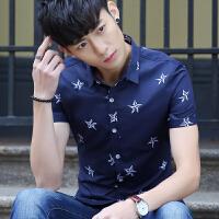 夏季男装短袖衬衫潮男免烫印花男士短袖衬衣