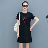 2018新款韩版宽松显瘦T恤裙女装上衣中长款短裙子夏天短袖连衣裙