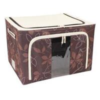 普润 55L咖啡色 牛津布钢架百纳箱 整理收纳箱 咖啡色树叶 单视 双开门