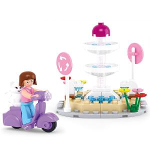 【当当自营】小鲁班新粉色梦想小镇女孩系列儿童益智拼装积木玩具 喷泉M38-B0519