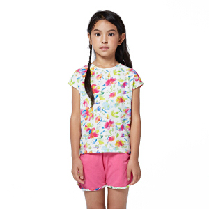 探路者童装 女童风格系列满印圆领短袖T恤/短裤套装