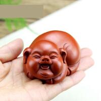紫砂茶宠 全手工朱泥福气猪 生肖福猪茶玩雕塑摆件s4z
