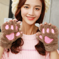 加厚骑车保暖韩版毛绒卡通猫咪爪子手套女学生男女士可爱半指