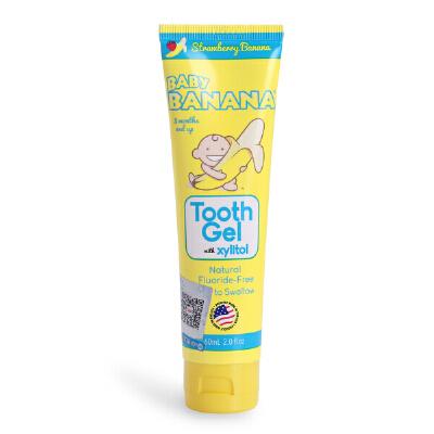 美国香蕉宝宝牙膏儿童牙膏可吞咽婴儿可吞食天然牙膏