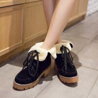 彼艾2017秋冬季新款粗跟短靴高跟靴前系带防水台学生靴舒适毛毛女靴马丁靴女靴子