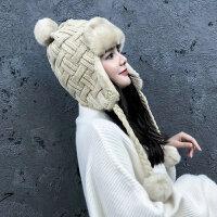 帽女冬吖韩版东北防寒帽冬天骑车护耳加厚毛线帽防风保暖棉帽新品 弹性帽围