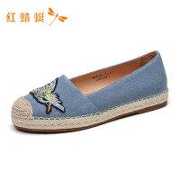 红蜻蜓女鞋春季新款个性刺绣图案浅口拼接时尚透气女休闲鞋帆布鞋-