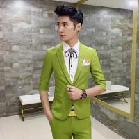 夏季新款七分袖西装男发型师九分裤套装青年韩版修身中袖西服休闲