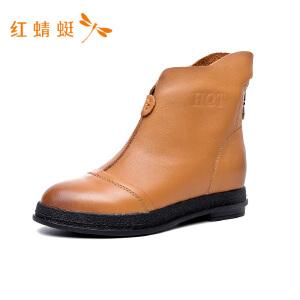 【专柜正品】红蜻蜓个性不规则筒领低跟舒适百搭女单鞋