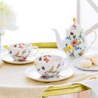 奇居良品 下午茶水壶咖啡杯碟套装 哈纳花鸟系列骨瓷茶具2人套装