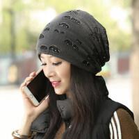 女士帽子时尚潮韩版潮流百塔新款保暖加厚针织帽
