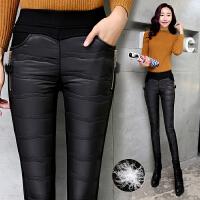 裤子女羽绒裤外穿高腰加厚保暖打底裤修身显瘦小脚铅笔裤冬季棉裤