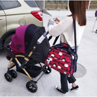 多功能防水时尚妈咪包 单双肩斜挎手提待产外出旅行大容量母婴包 妈咪包-满印单肩带挂件