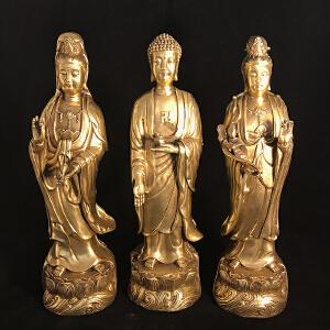 西方三圣铜摆件