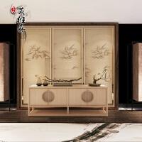 新中式实木电视柜民宿简约矮柜样板房禅意仿古地柜客厅家具定制 电视柜 整装