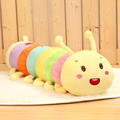 可爱七彩毛毛虫抱枕公仔毛绒玩具布娃娃玩偶女孩儿童宝宝生日礼物 如图(实物拍摄)