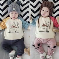3-6-9个月婴儿加绒上衣宝宝冬季卫衣外套新生儿满月外出服0-1岁潮