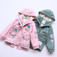 自留潮款 女童冬装加绒外套 2016新款韩版中长款加厚风衣保暖大衣
