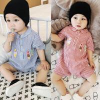 宝宝连体衣7夏装3个月2爬服4韩版2短袖1岁婴儿外出服9可开档0衣服