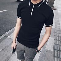 夏季个性时尚翻领短袖T恤男韩版修身潮流POLO衫有领半袖针织衫男