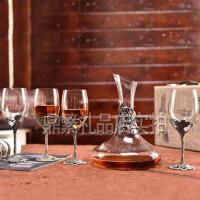 硕果累累酒具套件珐琅彩人造玻璃水晶红酒杯五件套新婚礼品结婚礼物 创意礼品