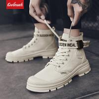 【满100减50/满200减100】Coolmuch男子工装鞋2019新款复古时尚耐磨防滑中高帮帆布休闲马丁靴YGK9