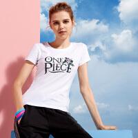 361度女装夏季圆领短袖361时尚舒适运动T恤