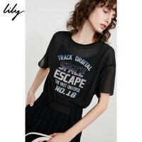 Lily春夏新款女装轻薄透视字母印花宽松短袖T恤118240C8116